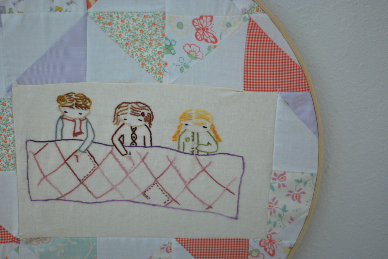 Girls quilting